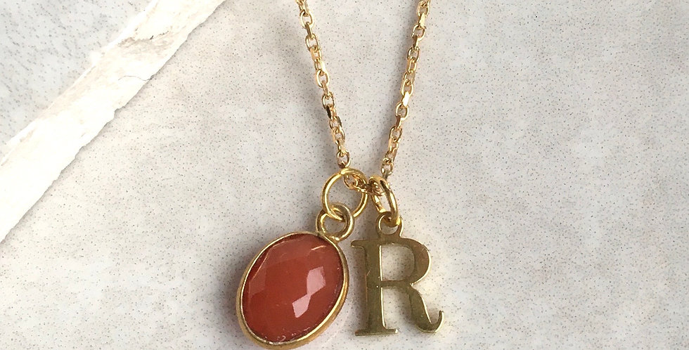 Carnelian Initial Necklace in Gold