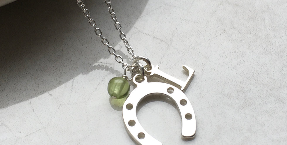 Horseshoe, Initial and Birthstone Necklace in Sterling Silver