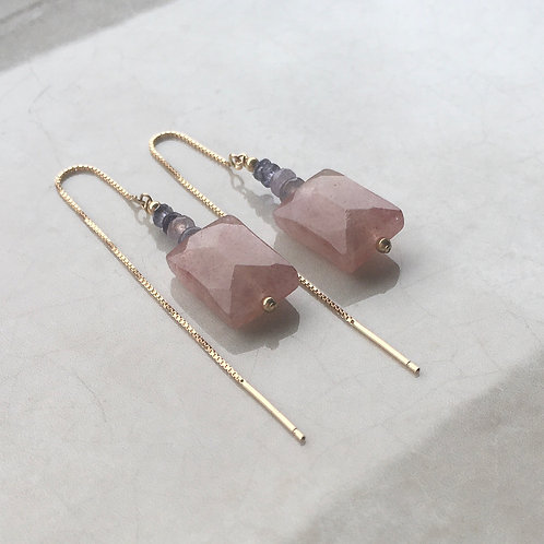 Strawberry Quartz Threader Earrings