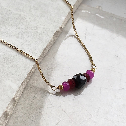 Onyx and Pink Jade Necklace