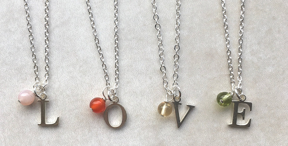 Initial and Birthstone Necklace in Sterling Silver