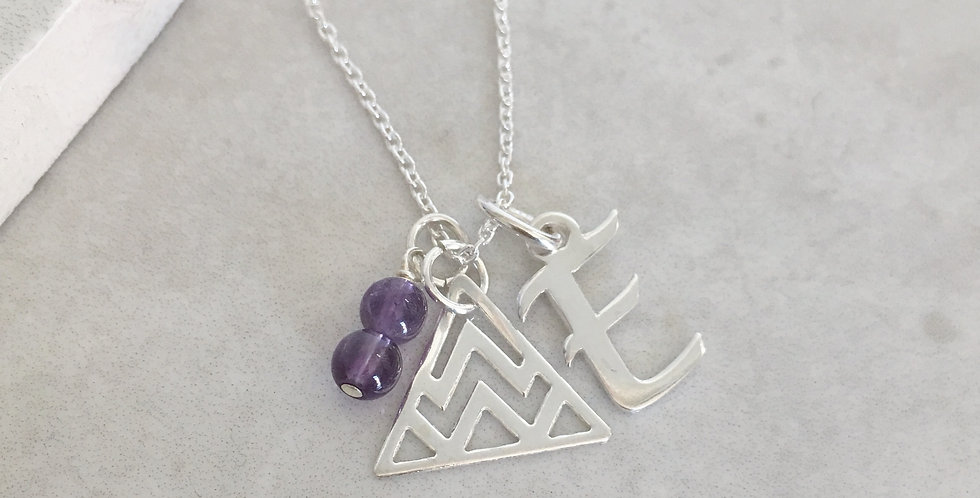 Triangle, Initial and Birthstone Necklace in Sterling Silver