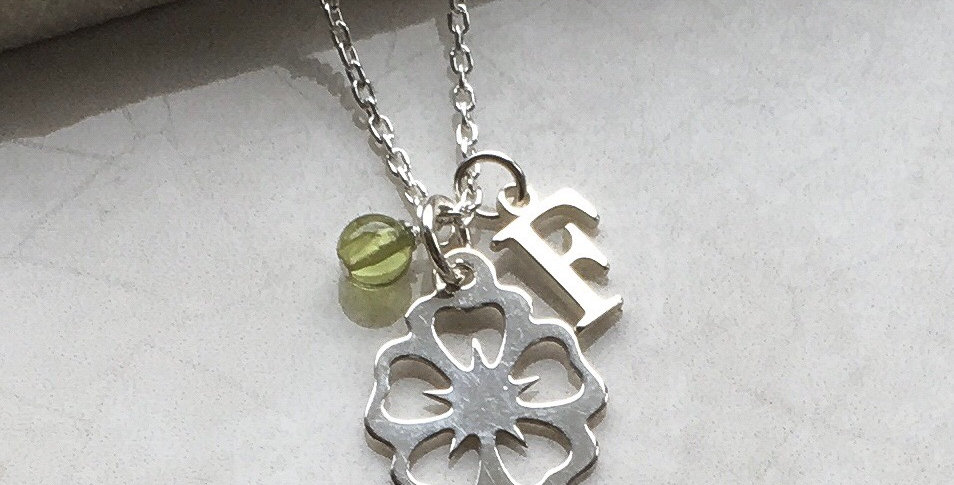 Flower, Initial and Birthstone Necklace in Sterling Silver