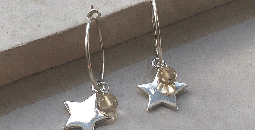 Silver Star and Birthstone Hoop Earrings