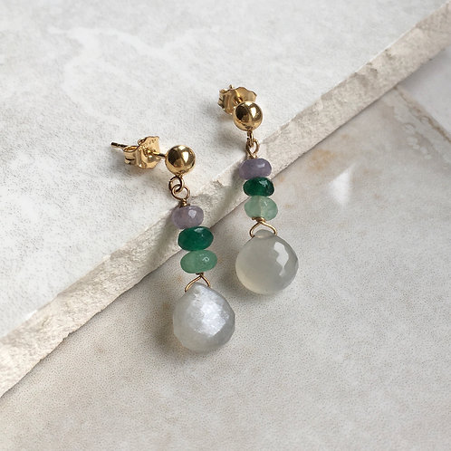 Moonstone and Jade Drop Earrings