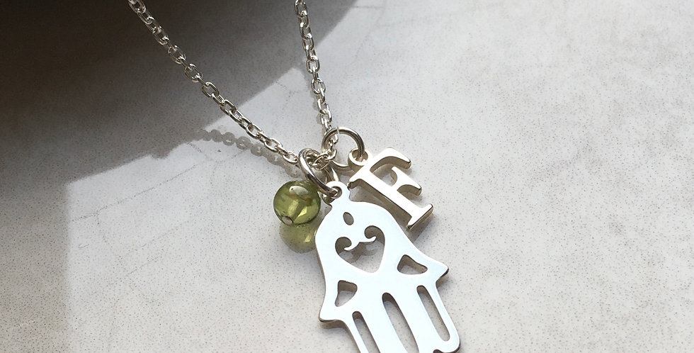Hamsa Hand, Initial and Birthstone Necklace in Sterling Silver