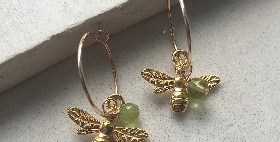 Gold Bee and Birthstone Hoop Earrings