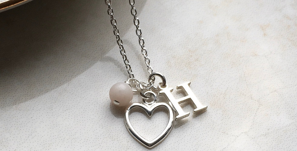 Heart, Initial and Birthstone Necklace in Sterling Silver