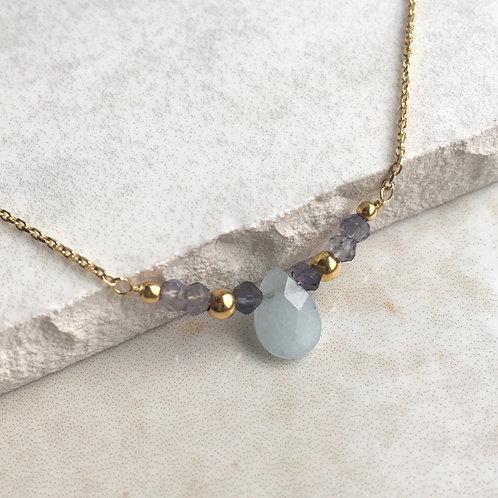 Aquamarine Gold Beaded Necklace