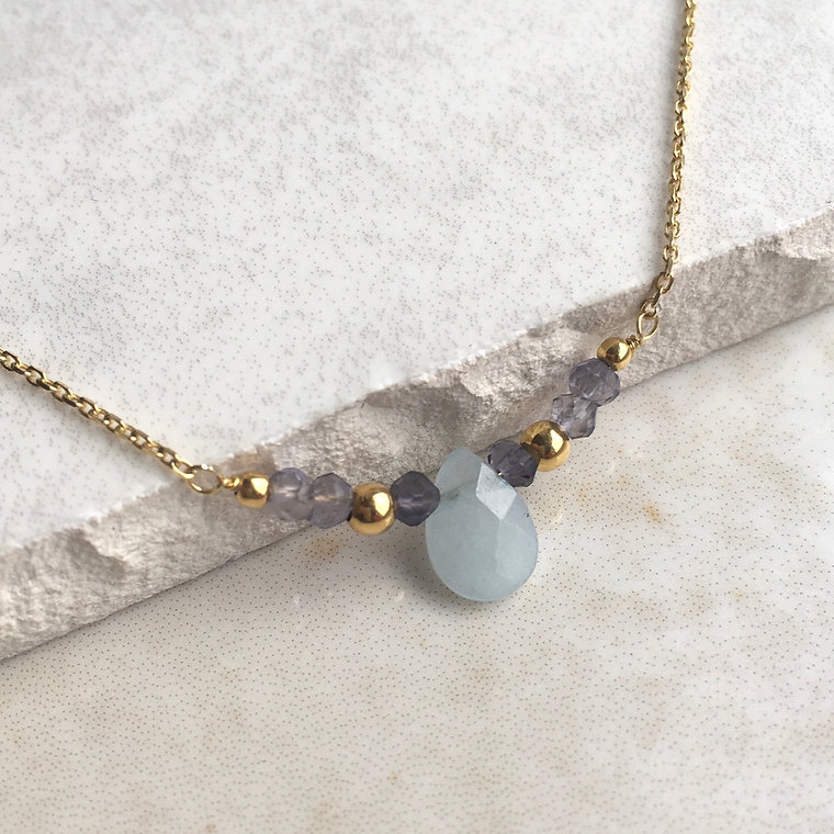 aquamarine beaded gold necklace.JPG