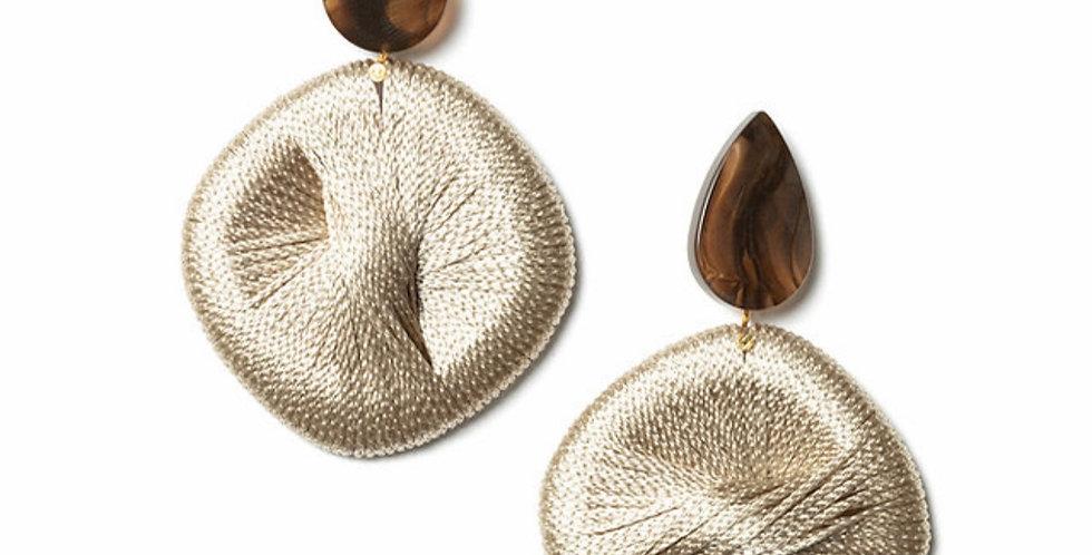 String Earrings Beige