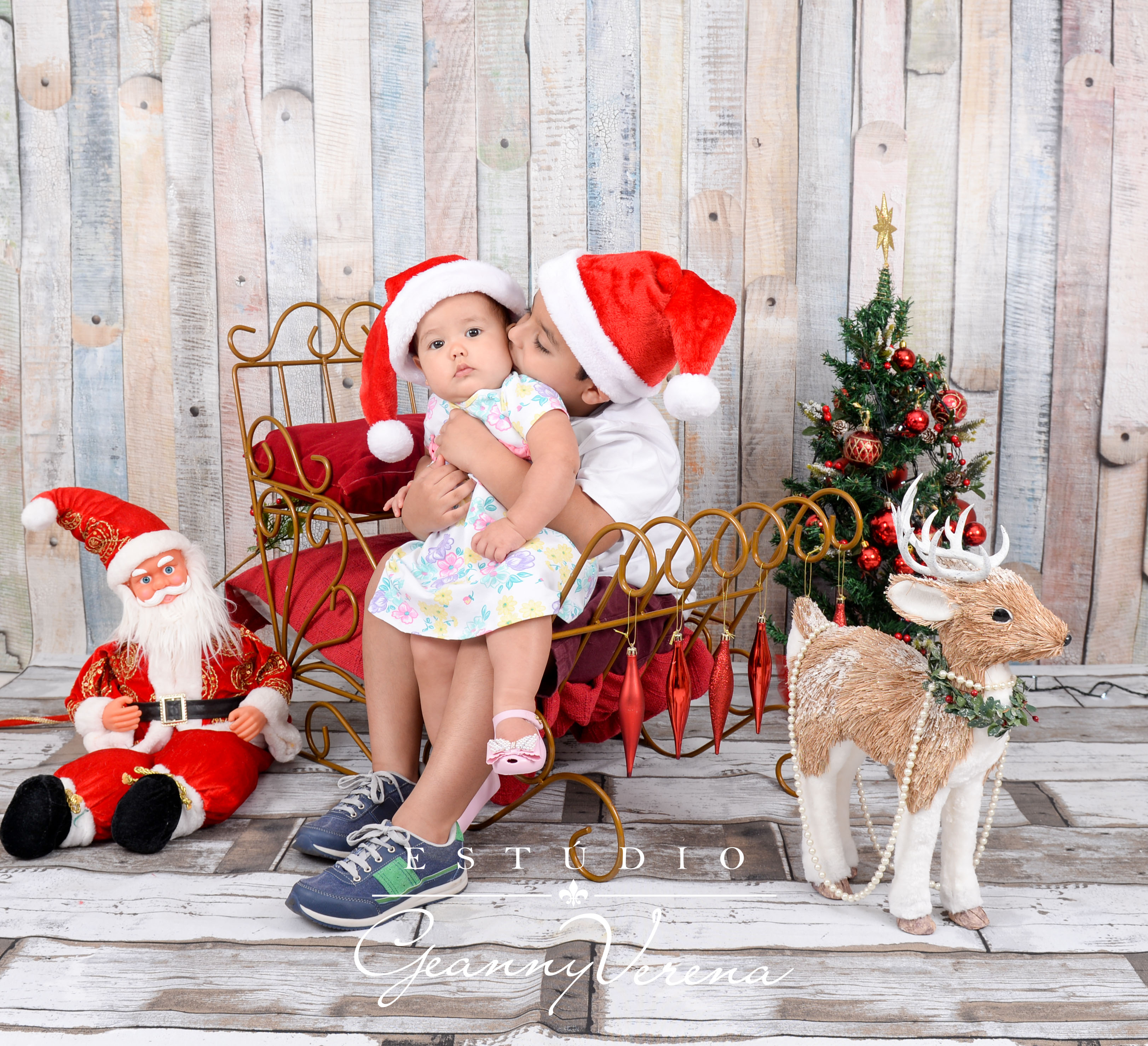 Ensaio de Natal com irmãos