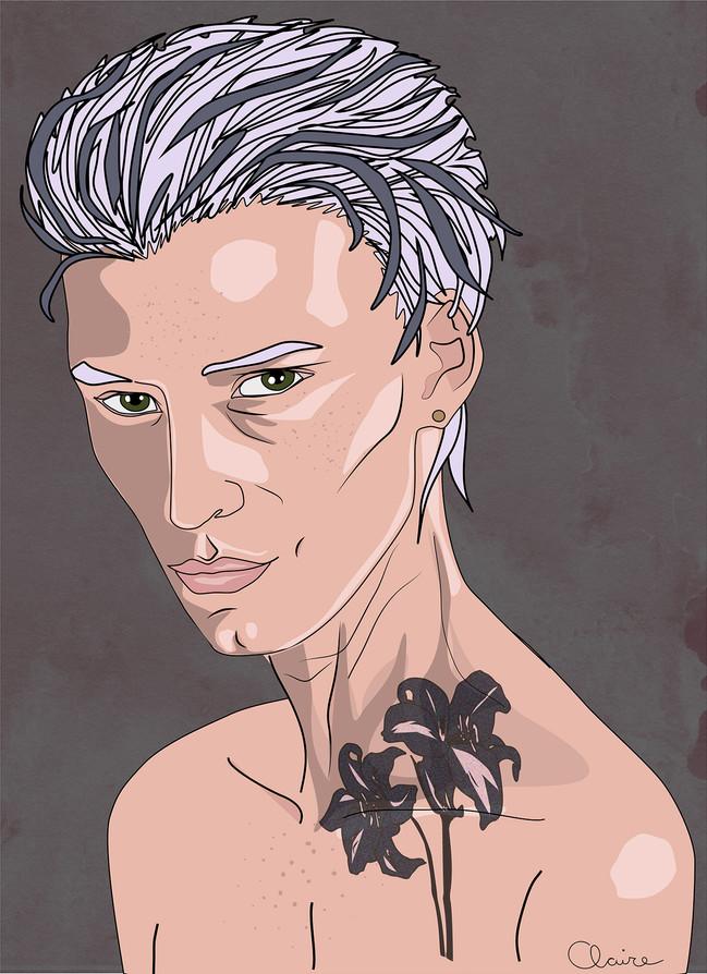 Portrait de la dame au tatouage de lys