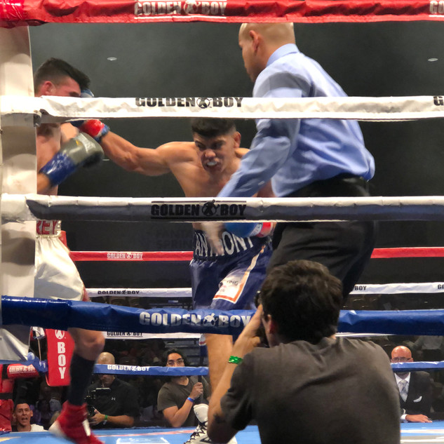 Round 2, Reyes delivers a fury of combos seconds before the fight is stopped.