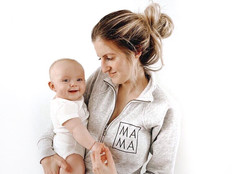 Grey Half Zip Embroidered Mama sweatshirt