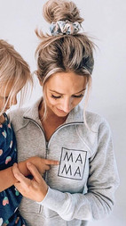 Heather grey embroidered Mama half zip
