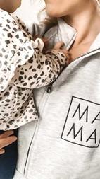 Heather Grey Half Zip Mama Embroidered - holding baby