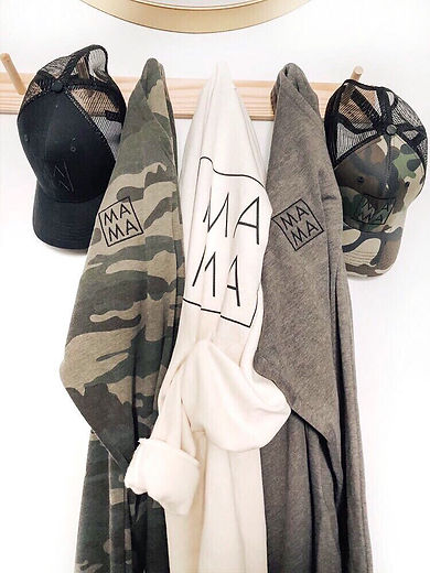 MAMA collection, camo pants, bone white hoodie, grey pants and mama hats