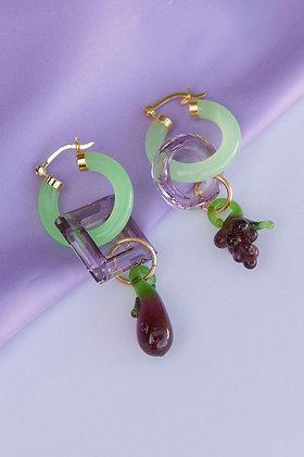 Jade Grape and Eggplant Earrings