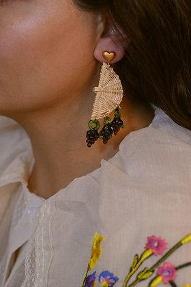 STRAW DROP Earrings - Grape