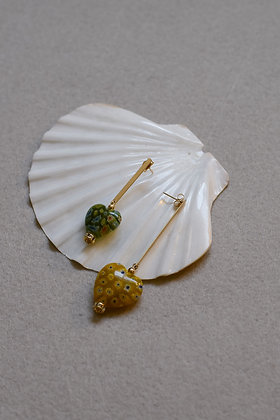 HEART DROPPER Earrings - Yellow