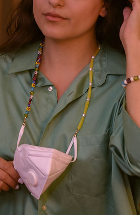 FLOWER CHAIN Necklace And Mask Holder
