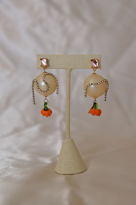 Pearl Ball Earrings - Pumpkin