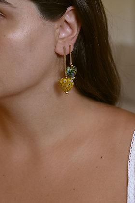 HEART DROPPER Earrings - Yellow