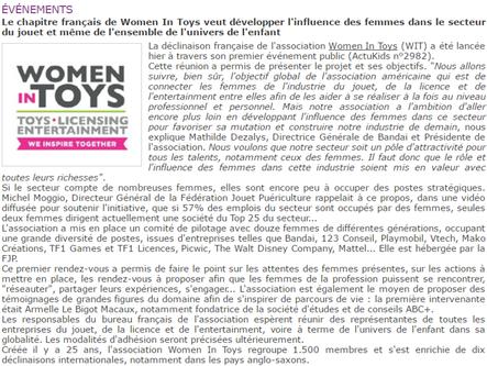 13 juin : Participation à la première réunion de Women In Toys : stimulant !