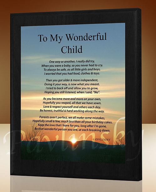 To My Wonderful Child
