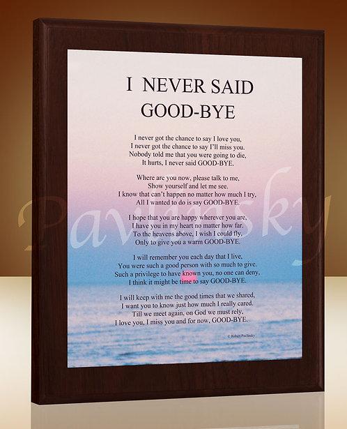 I Never Said Good Bye