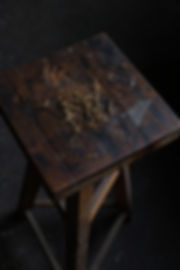 wood and steel patina french craftsman industrial design