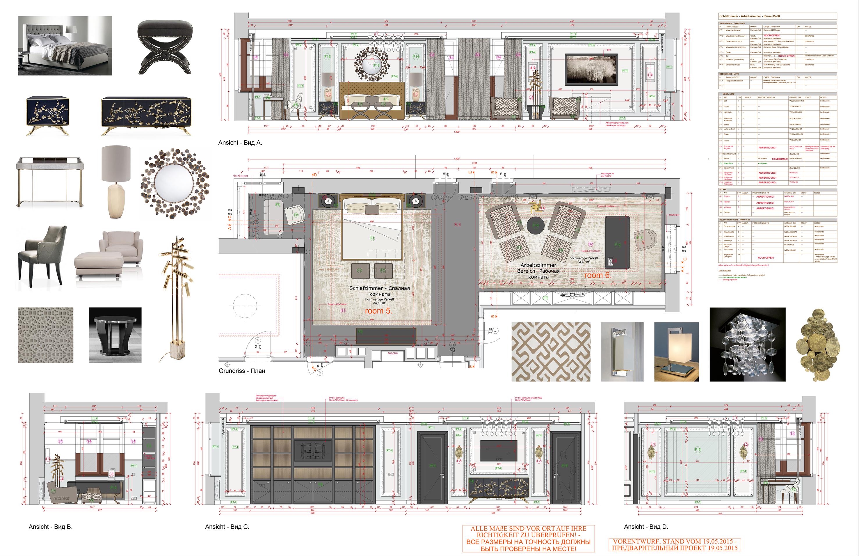 150519_GINER_Appartement_Schlafzimmer-Arbeitszimer Grundriss-Ansichten mit mobel