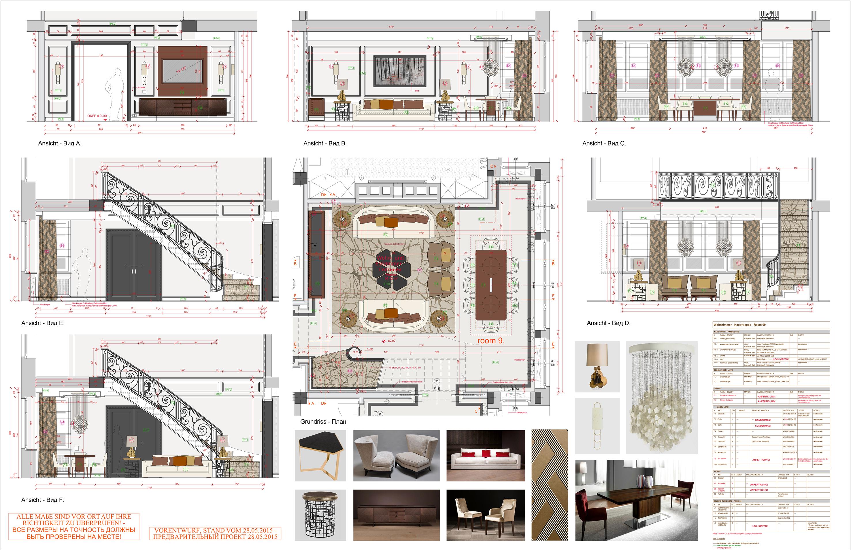 150707_GINER_Appartement_Wohnzimmer Grundriss_Ansichten
