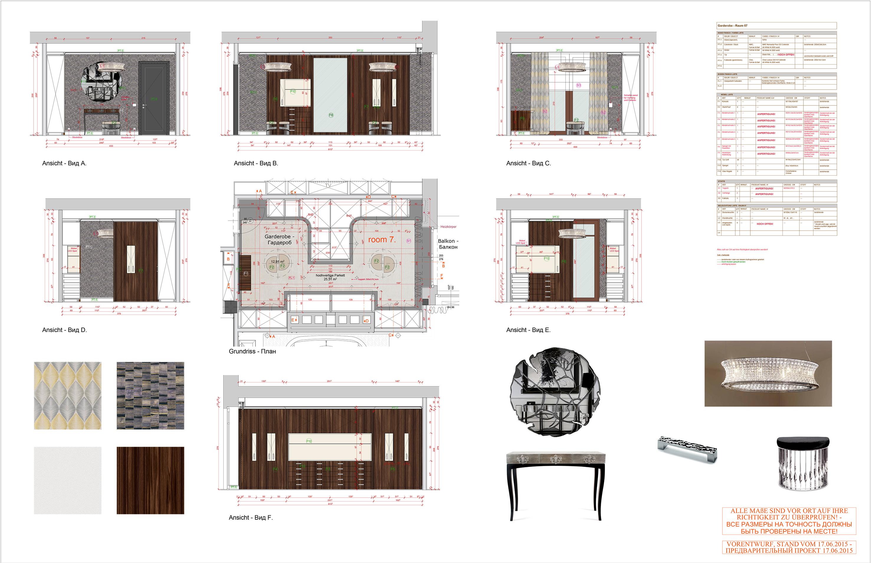 150617_GINER_Appartement_Garderobe Grundriss_Ansichten mit Mobel