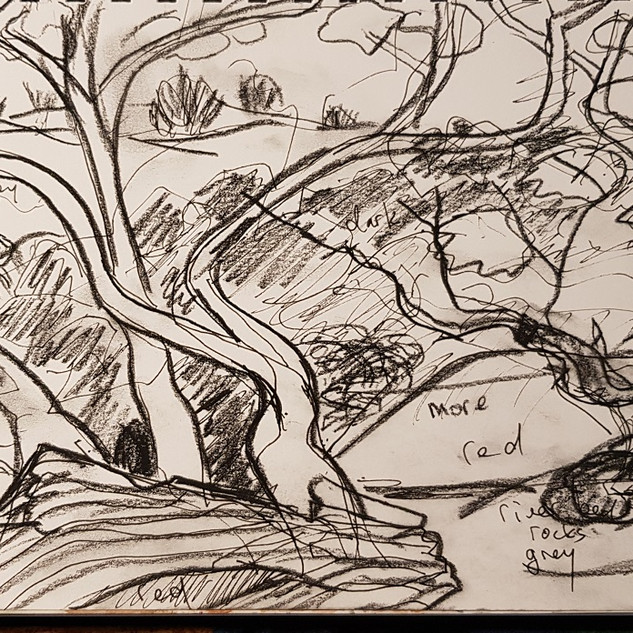 Fowlers Gape Riverbed sketching-Lakeland