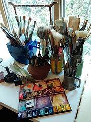 Paintbrushes of Australian Award-winning artist lakeland from Queensland, Australia