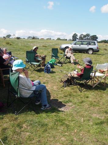 Artists, archaeologists, surveyor on sit