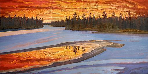 Winter Sunset over Tea Lake