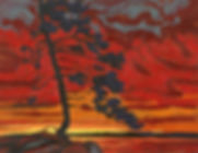 Beautiful Firey Sunset Oil Painting