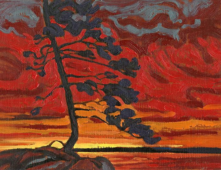 Beautiful Firey Sunset Oil Painting