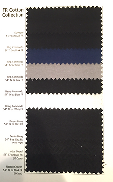 sample card of cotton fr theatre fabrics including duvetyne, denim, and ranger lining.