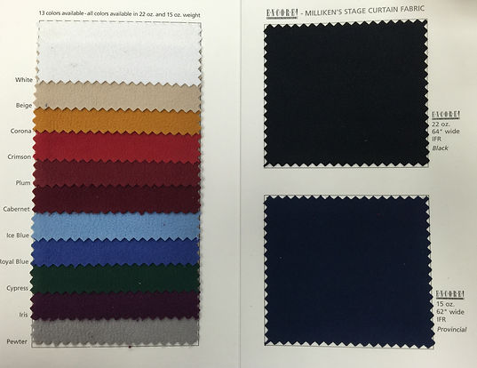 Encore Velour Fabric Sample Card showing 13 colors in 15 oz. and 22 oz. FredKriegerFabrics.com