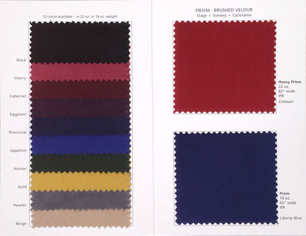 Prism Velour Swatch Card showing 12 colors in 14 oz. and 22 oz. FredKriegerFabrics.com