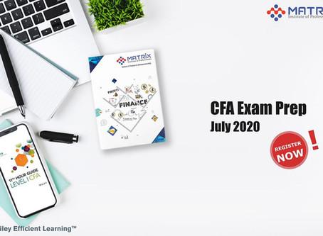 Register now for Matrix's CFA Level I Exam Prep Program (Batch – 7)