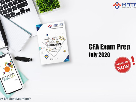 Register now for Matrix's CFA Level I Exam Prep Program (Batch – 7)