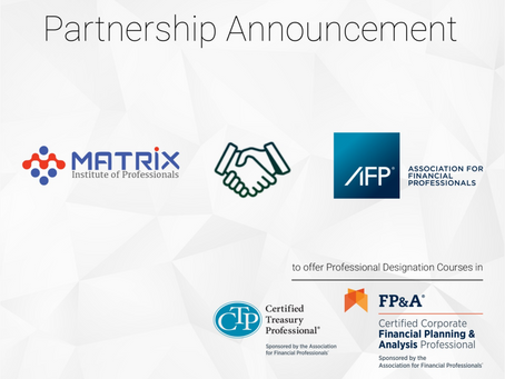 Association for Financial Professionals Partners with Matrix Institute of Professionals on CTP, FP&A
