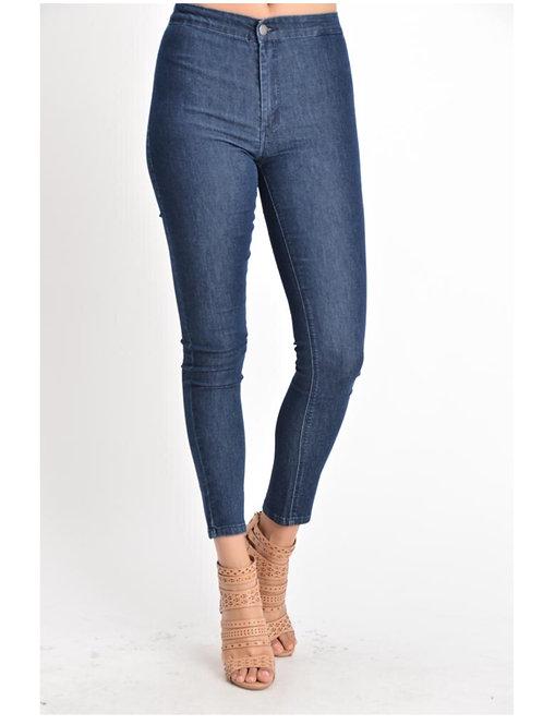 High Rise Denim Basic Pants