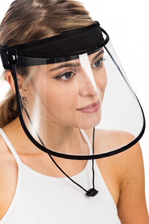 Clear Protective Face Shield Visor in Black