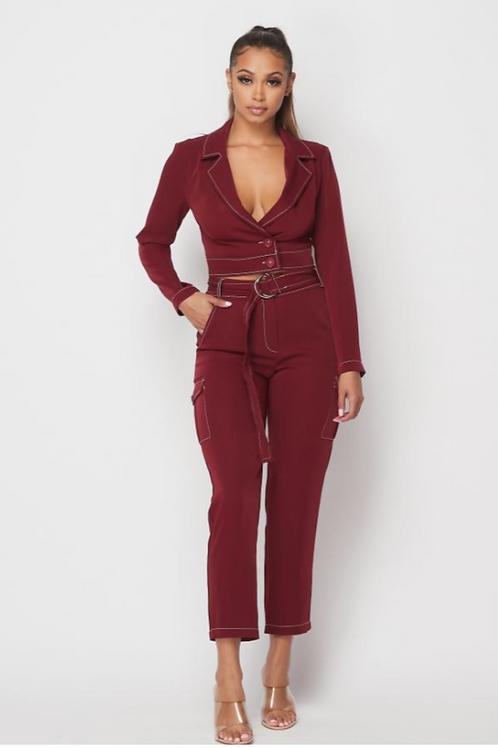 Contrast Stitch Cropped Blazer Set